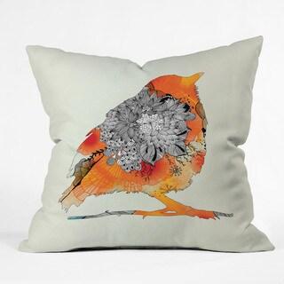 Iveta Abolina Orange Bird Multicolor Polyester Throw Pillow