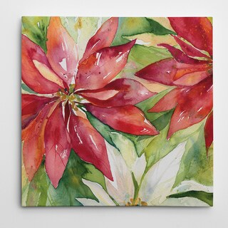 Wexford Home Carol Robinson 'Watercolor Poinsettia' Premium Gallery Wrapped Canvas