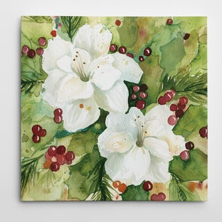 Carol Robinson 'Watercolor Holly' Premium Gallery-wrapped Canvas