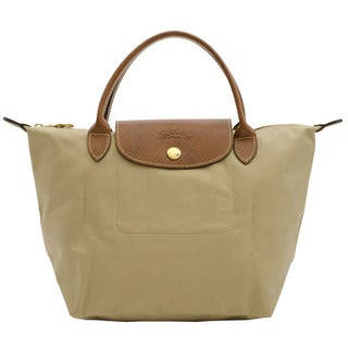 Longchamp Le Pliage Small Beige Nylon Foldable Shoulder Tote Bag
