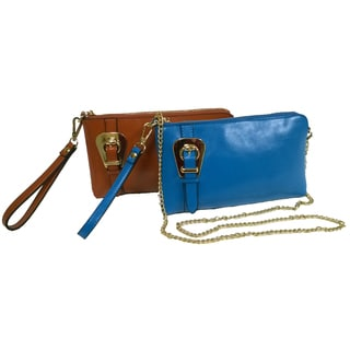 Donna Bella Polly Chrome and Leather Wristlet Wallet/Clutch