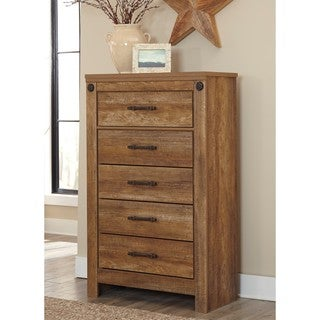 Signature Design by Ashley Ladimier Golden Brown Five Drawer Chest