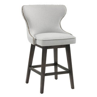 "Ariana Light Grey Fabric 26"" Swivel Counter Stool"
