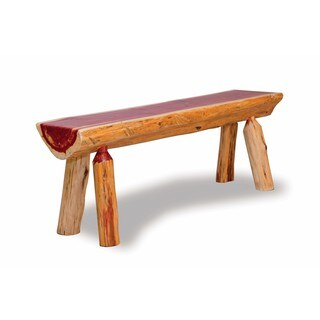 RUSTIC RED CEDAR LOG HALF BENCH (2 options available)