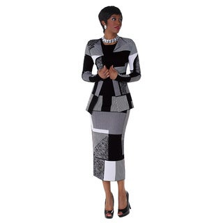 Kayla Collection White and Black Knit Missy Multi-block Print and Striped 3-piece Suit