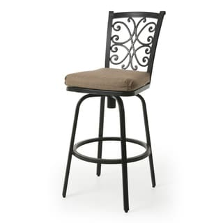 chanmi sesame linen sunbrella fabric and autumn rust aluminum 30inch barstool