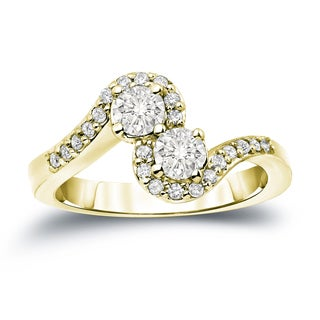 Auriya 14k Gold 3/4ct TDW 2-Stone Round Diamond Engagement Ring (J-K, I1-I2)