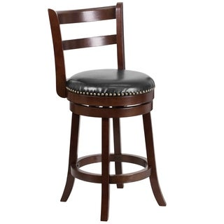 26-inch Wood Counter Height Stool with Leather Swivel Seat