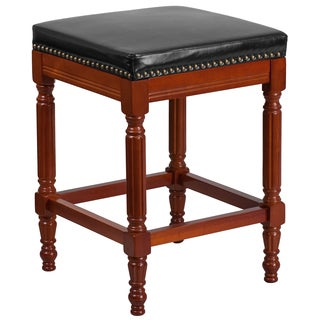 26-inch High Backless Light Wood Counter Height Stool with Leather Seat