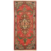 Herat Oriental Persian Hand-knotted Tabriz Wool Rug - 1'10 x 4'