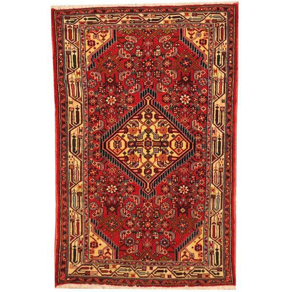 Herat Oriental Persian Hand-knotted Tribal Hamadan Wool Rug (2'6 x 3'10)