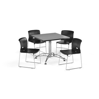 OFM Cherry 42-inch X-Series Round Laminate Table with 4 Plastic Guest Chairs