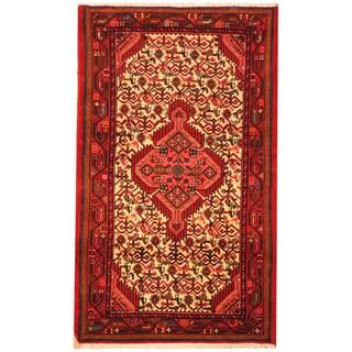 Herat Oriental Persian Hand-knotted Tribal Hamadan Wool Rug (2'7 x 4'4)