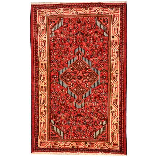 Herat Oriental Persian Hand-knotted Tribal Hamadan Wool Rug - 2'8 x 4'1