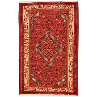 Herat Oriental Persian Hand-knotted Tribal Hamadan Wool Rug (2'8 x 4'1)