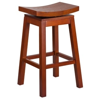 30-inch High Saddle Seat Light Wood Barstool with Auto Swivel Seat Return