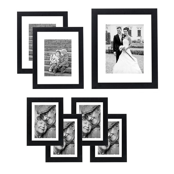 Americanflat 7-piece Wall Frame Set for One 8 x 10-inch Two 5 x 7-inch, and Four 4 x 6-inch Photos. Opens flyout.