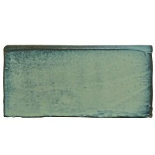 SomerTile 3x6-inch Antiguo Special Lava Verde Ceramic Bullnose Wall Trim Tile (6/Pack, 0.78 sqft.)