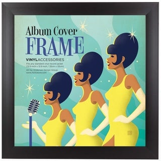 Black Manufactured Wood/Glass 12.5 in Album Frame - Made to Display Standard Album Covers, Vinyl Covers, and LPs