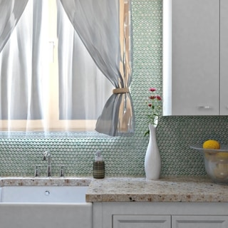SomerTile 12x12.625-inch Penny Mint Green Porcelain Mosaic Floor and Wall Tile (10/Case, 10.74 sqft.)