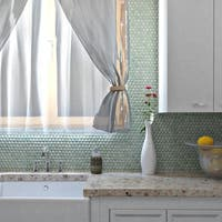 SomerTile 12x12.625-inch Penny Mint Green Porcelain Mosaic Floor and Wall Tile (10 tiles/10.2 sqft.)