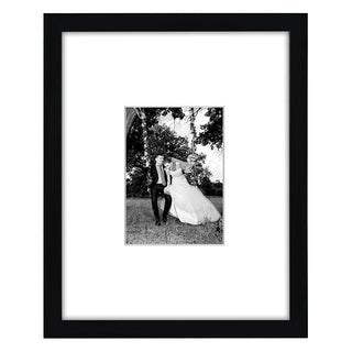 Black Wall Picture Frame with Protective Glass Covering for 5 x 7-inch Pictures with Mat or 11 x 14-inch Pictures Without Mat