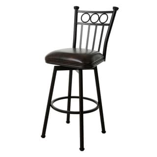 Bostonian Bronze Finish Steel and Faux Leather 26-inch Swivel Stool