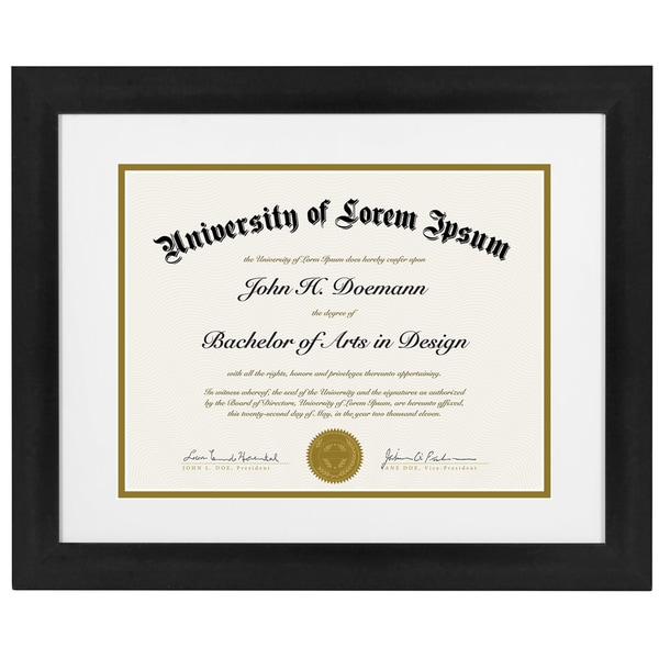 Americanflat 11 x 14-inch Black Document Frame for 8.5 x 11-inch Documents with Mat or 11 x 14-inch Documents Without Mat