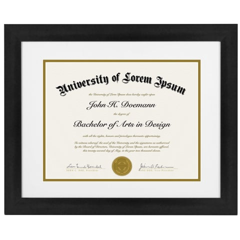 11 x 14-inch Black Document Frame for 8.5 x 11-inch Documents with Mat or 11 x 14-inch Documents Without Mat