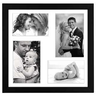 12 x 12-inch Black 4 Photo Collage Picture Frame for Two 4 x 6-inch Pictures without Mat and Two 5 x 7-inch Pictures with Mat