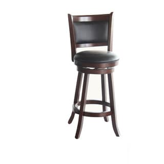 Whitaker Furniture Walnut Wood and Vinyl Upholstered Back Stool