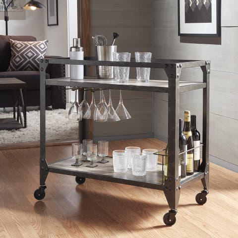 Metropolitan Charcoal Grey Metal Mobile Bar Cart With Wood Shelves By Inspire Q