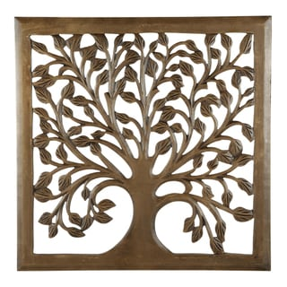 "12"" Light Brown Solaris Nine Tree of Life Wall Art"