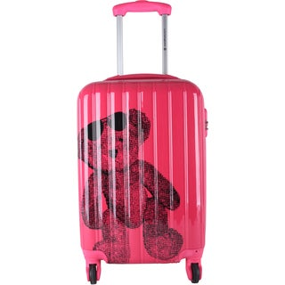Lulu Castagnette Teddy Bear Fuschia ABS, Metal, and Nylon 28-inch Expandable Hard-sided Spinner Suitcase
