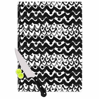 Kess InHouse MaJoBV 'Finger Scales' Black and White Glass Cutting Board