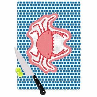 Kess InHouse MaJoBV 'Cangrejo' Red Crab Glass Cutting Board