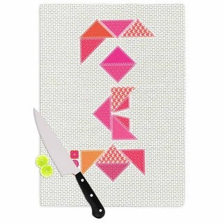 Kess InHouse MaJoBV 'Stitched Love' Pink Glass Cutting Board
