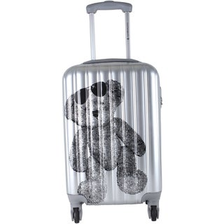 Lulu Castagnette Teddy Bear Silver 28-inch Expandable Hardside Spinner Suitcase