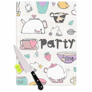 Kess InHouse MaJoBV 'Tea Party' White Multicolor Cutting Board