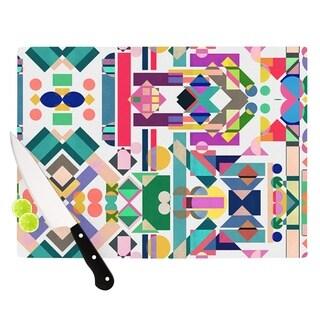 Kess InHouse Mareike Boehmer Geometry 2B Multicolor Glass Abstract Rainbow Cutting Board