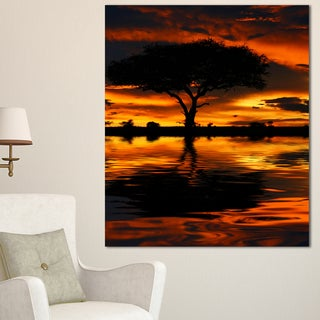 Tree Silhouette and Dramatic Sunset - Oversized African Landscape Canvas Art - Red