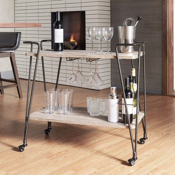 Metropolitan Dark Bronze Metal Mobile Bar Cart With Wood Shelves By Inspire Q