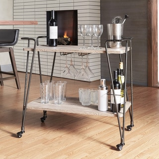 INSPIRE Q Metropolitan Dark Bronze Industrial Metal Mobile Bar Cart with Wood Shelves