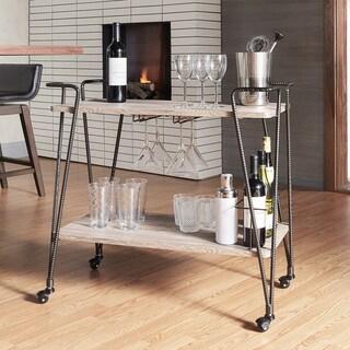 Metropolitan Dark Bronze Industrial Metal Mobile Bar Cart with Wood Shelves by iNSPIRE Q Artisan