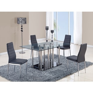 Global Furniture Clear Glass and Chrome Stainless Steel Dining Table