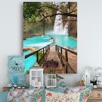 Stairway into Beautiful Waterfall - Oversized Landscape Canvas Art - Green