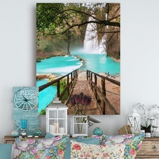 Stairway into Beautiful Waterfall - Oversized Landscape Canvas Art - Green (4 options available)