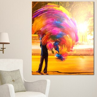 Man with Balloons in Night - Abstract Art Canvas