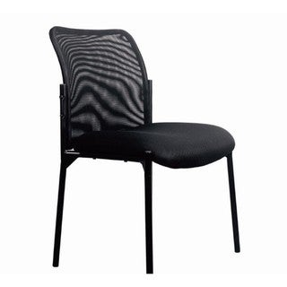 Mesh Upholstered Stacking Armless Side Chair, Black