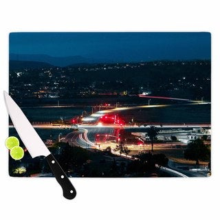 Kess InHouse Just L 'Chasing Lights' Blue and Red Tempered Glass Cutting Board